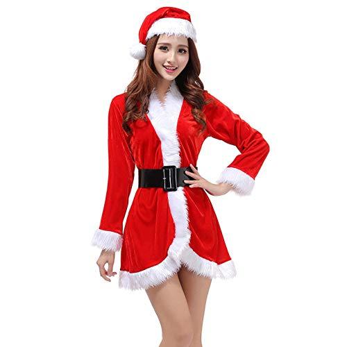 N-B Moda Miss Abrigo Traje de Navidad para mujer, vestido de fiesta sexy de Santa Claus con capucha, disfraz de cosplay