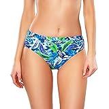 Vivisence Braguita De Bikini Clásica Sin Estampado para Mujeres 3001, Azul Floreado,40