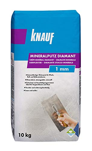 Knauf Mineralputz Diamant 1,0-mm Körnung – mineralischer Dekor-Putz, als Decken-, Wand-Belag oder Außen-Putz, kratzfest und witterungsbeständig, Weiß, 10-kg