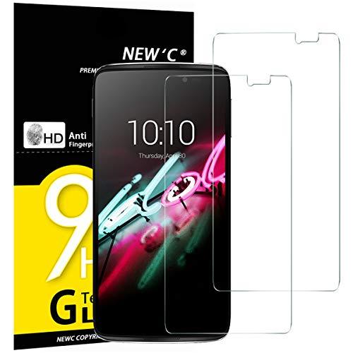 NEW'C 2 Stück, Schutzfolie Panzerglas für Alcatel One Touch Idol 3 (5.5), Frei von Kratzern, 9H Festigkeit, HD Bildschirmschutzfolie, 0.33mm Ultra-klar, Ultrawiderstandsfähig
