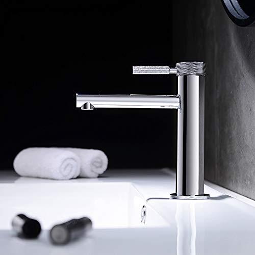 Toque de agua DKEE Moderna Minimalista Tocador De Baño Completo Cobre Cilindro Grifo De Agua Caliente Y Fría Acondicionado Del Hogar Creativo Del Hotel Orificio De Grifo (Color : Silver)