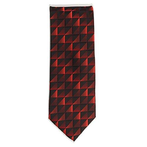 Silk Ties stropdas klassieke zijde zwart rood tegels 8,5 cm