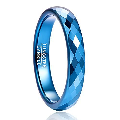 NUNCAD 4mm Wolfram Ring für Herren/Damen blau mit Ringbox Größe 53(13)