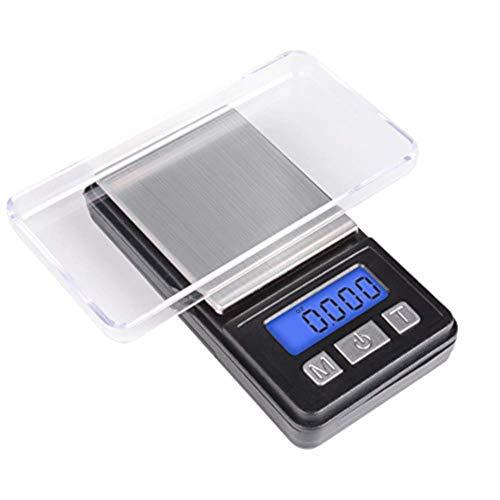 EUROXANTY® Mini Báscula Digital | 0.01g - 200g | Báscula de Cocina y Joyería | Plataforma de Acero Inoxidable | Pantalla LCD | Especial para Bolsillo | Iluminación LED