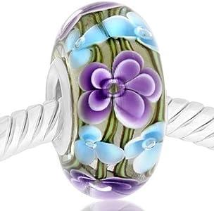 Cristal de murano Niagarra flores azul y morado con el núcleo de plata , similar abalorios pandora
