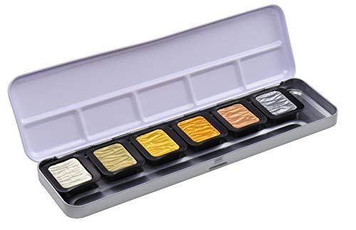 Finetec Tones-Lápices de color (30 x 22 mm, 6 unidades, en caja de metal), Goma arábiga, pigmentos, 1