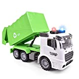 FUN LITTLE TOYS 12.2' Garbage Truck Toys Friction Powered Dump Garbage Truck with Lights and Sounds for Kids, Toy Truck for Boys