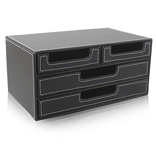 HYZXK Scrivania File Organizer, Organizzatore di File di Archiviazione in Ecopelle Vassoio Letterbox con 4 Cassetti Cartella Divisore, Ufficio