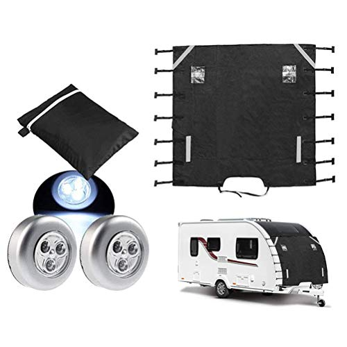 Newooh 68 '' x 86 '' Caravan Front Towing Cover, wasserdichter Chip Protector Protector mit LED-Schutzleuchten Front Towing Cover für Universal