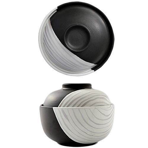 LLNA Ciotole per zuppa in Stile con Coperchio, Ciotola in Ceramica, pentole Adatte al microonde e alla lavastoviglie, per Pasta con Insalata e Noodle (16,7 cm)