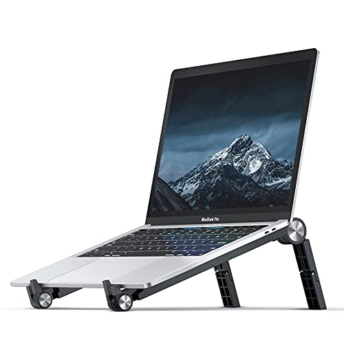 DesertWest Laptop Stand for Desk,Lightweight Adjustable MacBook Pro Stand Foldable,ABS Ergonomic Laptop Stand Portable,Traveling Computer Stand Holder Collapsible, Compatible with All Laptops-Black
