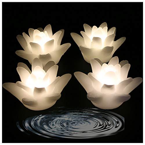 LACGO Wasserdichte schwimmende LED-Kerzen, 7,6 cm, flammenlose flackernde Kerze, wasseraktivierte Lilienblüte, für Babyparty, Hochzeit, Zuhause, Party, Festival, Dekoration (warmweiß, 4 Stück)