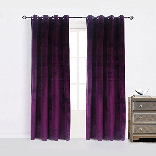 Cherry Home Set of 2 Blackout Velvet Energy Efficient Grommet Curtain Panel Drapes Lavender Purple 52Wx96L(2 Panels) Theater| Bedroom| Living Room| Hotel