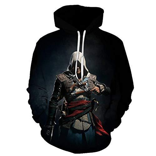 xkxkxk Assassin's Creed Sweat à Capuche Homme Impression 3D Dessin animé drôle Unisex Manche Longue Hoodie Sweatshirt Pullover