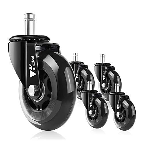 amzdeal 5pcs roulettes pour Chaise de Bureau Silencieuses 11mm - Capacité de Charge Élevée Jusqu'à 650lbs / 295kg, Roulette 360° Pivotante Universelle Résistantes à Abrasion Rayure sur Sol Dur Tapis