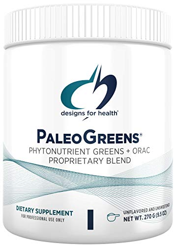 Designs for Health PaleoGreens - Over 90% Organic Super Green Shake Powder with Vegetables, Berries, Enzymes + Antioxidants - Non-GMO Drink Mix, Unflavored + Unsweetened (30 Servings / 270g)
