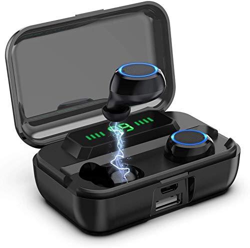 Aclouddates Bluetooth-Kopfhörer, TWS Stereo-Sound, CVC8.0, 135 Stunden Spielzeit, LED-Display, kabellose Kopfhörer mit 3000 mAh Ladehülle, IPX7 wasserdichte Ohrhörer für iOS Android-F9-278