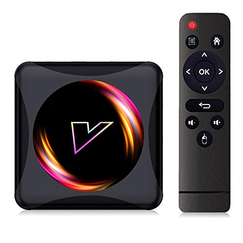 MMFFYZ Android 10.0 WiFi 16GB 32GB 64GB HD Network TV decodificador 6K TV Box Asistente de Voz de Google 2.4G 4GHz WiFi Reproductor Multimedia 3D Decodificador(Size:4GB+64GB)