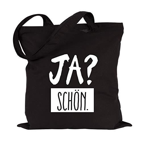 JUNIWORDS Jutebeutel, Wähle ein Motiv und Farbe, Ja? Schön (Beutel: Schwarz, Text: Weiß)