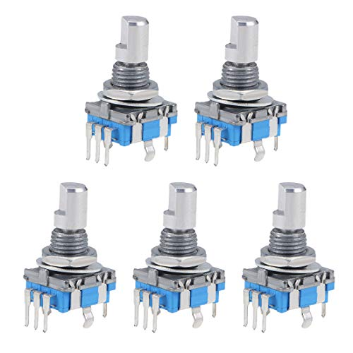 uxcell 360 Degree Rotary Encoder Code Switch Digital Potentiometer EC11 5 Pins 15mm D-Shaft 5Pcs