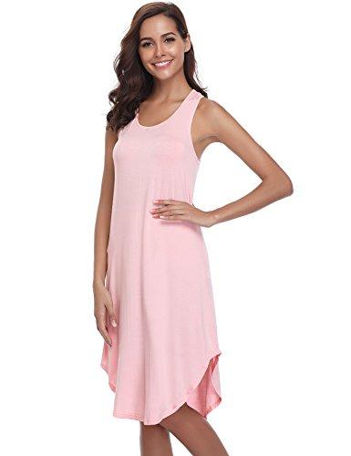 Aibrou Damen Einfarbige Nachthemd Ärmellose Racerback Nachtkleid Rundhals Nachtwäsche Rosa S
