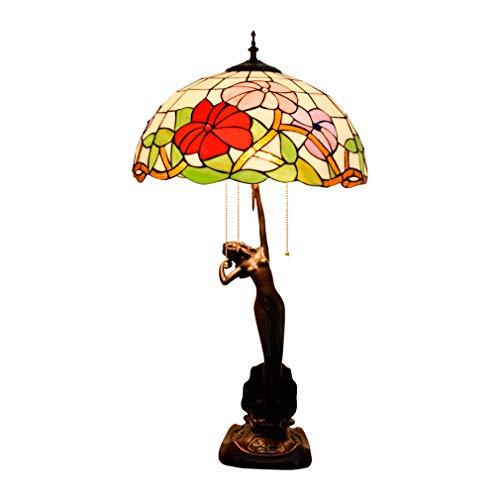 Gekleurde glazen tafellamp, 3 lichtjes, trekketting, 30 inch, groot, Tiffany-stijl, ochtendglory, bureaulamp, antieke basis voor woonkamer, salontafel, slaapkamer