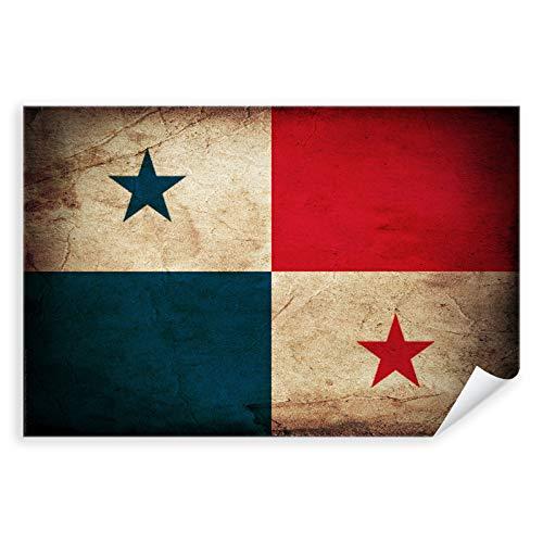 Postereck - 0349 - Vintage Flagge, Fahne Panama Panama-Stadt - Unterricht Klassenzimmer Schule Wandposter Fotoposter Bilder Wandbild Wandbilder - Poster mit Rahmen - 29,0 cm x 19,0 cm