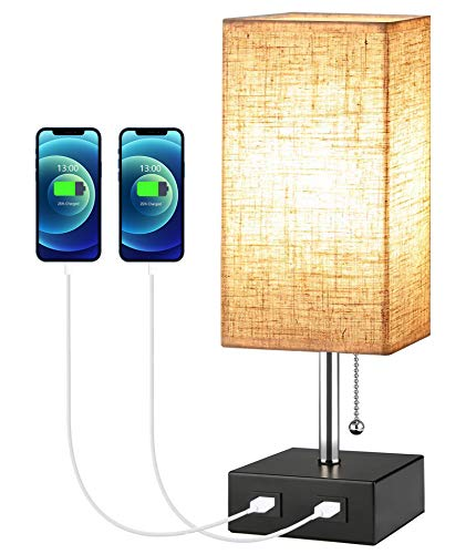 Bedside Lamps for Bedrooms, Bedside Table Lamps, Bedside Lamps with USB Charging Port, Modern Bedroom Lamps, Atmosphere Bed Side Lamps Decor for Well Bedrooms Livingroom, Home, Hotel, E27 Base