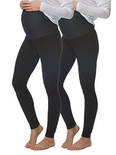 Felina Velvety Soft Maternity Leggings for Women - Yoga Pants for Women, Maternity Clothes - (2-Pack) (Large, Black)