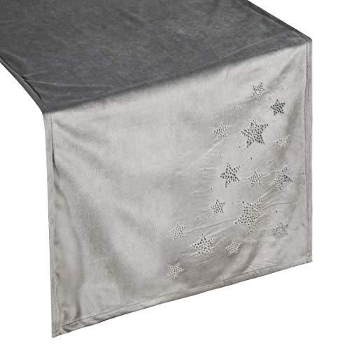 Eurofirany tafelkleed, tafelloper, tafeldecoratie, tafelkleed, tafelkleed, kerstmis, tafeldecoratie, sterren fluweel, zilver, 40 x 140 cm
