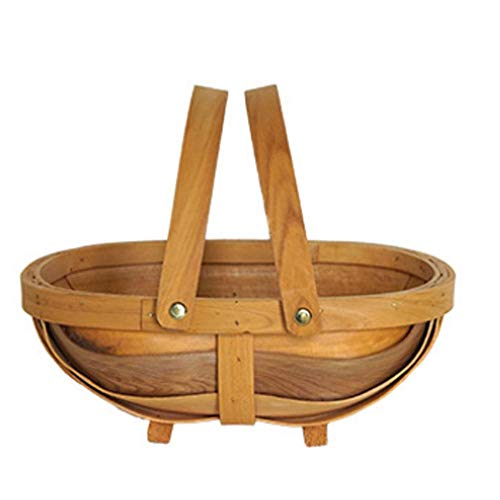 Yao Französischer Pastoral-Picknickkorb Boot Aufbewahrungskorb, großer Aufbewahrungskorb mit Doppelgriffen Obst-Servierkörbe Osterkorb