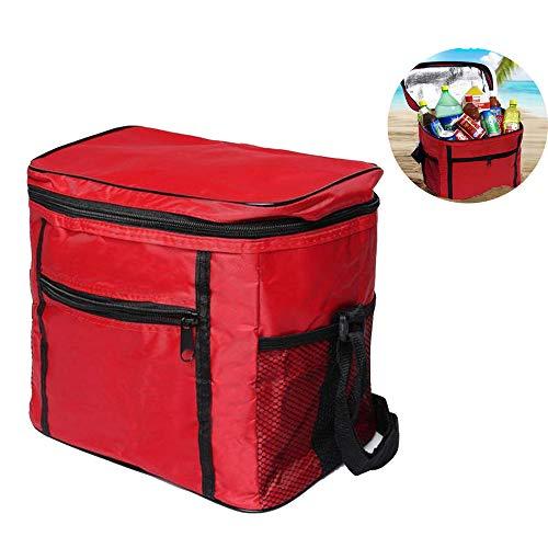 KINRIKA Kühltasche Picknicktasche, Eistasche Klappbar,Thermotasche Mittagessen, Isoliertasche Lunch Tasche, 10L Cooler Bag für Outdoor Reisen,Büro, Grillfeste, Camping(rot)