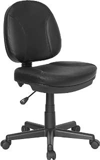Flash Furniture Mid-Back Black Leather Swivel Ergonomic Task Office Chair with Back Depth Adjustment