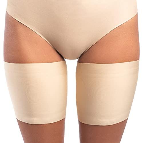 looksy - Fascia elastica per coscia, unisex, anti-sfregamento, elasticizzata, per evitare sfregamenti sulle cosce, in silicone antiscivolo, Beige Chiaro, L