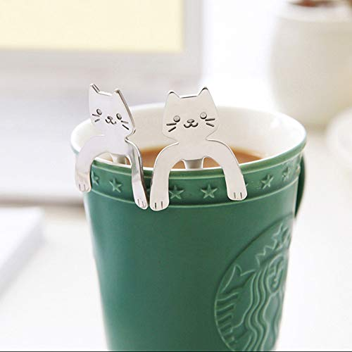 m·kvfa Spoon, Cute Cat Spoon Long Handle Spoons Coffee TeaSpoon Flatware Drinking Tools Kitchen Gadget