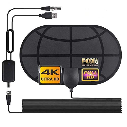 TV Antenna, Powerful Amplifier Signal Booster for Smart TV with Amplifier Signal Booster, Support 4K 1080P Channels and All TVs Indoor Antenna Coax HDTV Cable and USB AC Adapter Included (Black)