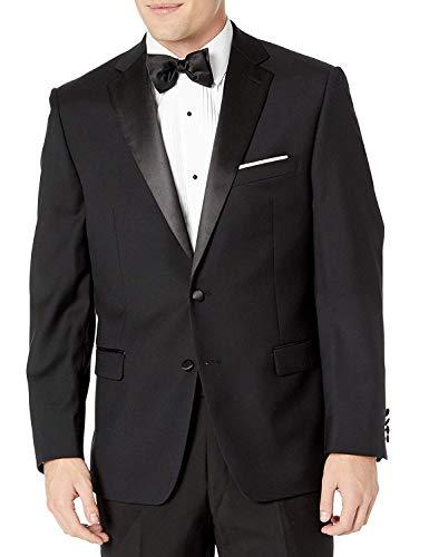 Calvin Klein Men's Modern Fit 100% Wool Tuxedo Suit Separates-Custom Jacket & Pant Size Selection, Black Jacket, 46 Regular