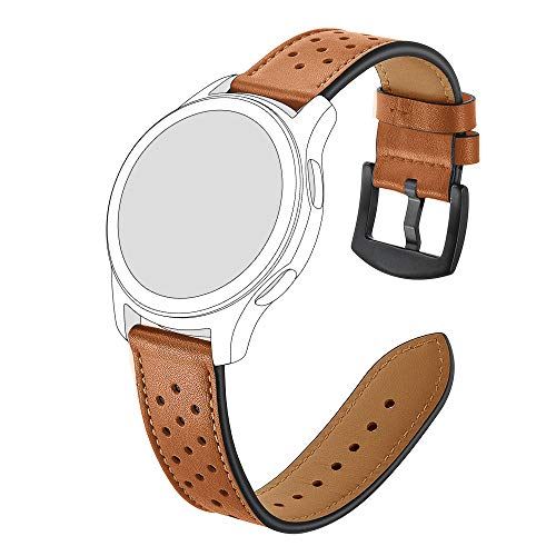 AISPORTS 18mm 20mm 22mm Quick Release Lederen Horlogeband voor Samsung Gear/Galaxy Watch, Huawei, Pebble, Ticwatch, Fossil, LG, Asus, Moto Dames Horloge met Roestvrij stalen gesp, Zwart Bruin 18MM BRON