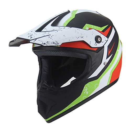 Motocross Helm Atmungsaktiven MX Helm mit Verstellbarer Schirm und Hintere Entlüftung,XL