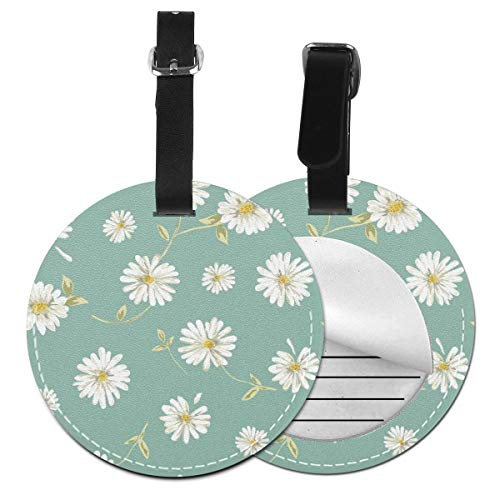 Slaytio Customizable Pretty Daisy Seamless Background Round Luggage Label Suitcase, PVC Wristband Suitcase Label