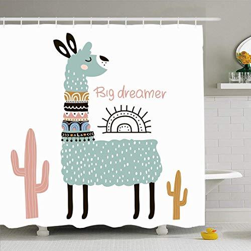 Conjunto de cortina de ducha con ganchos Lindo estilo de piel de llama Tribal Baby Lama infantil Animales naturales Cara Texturas de vida silvestre Cartel Sur Tela de poliéster impermeable Dec
