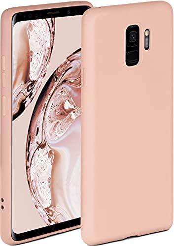 ONEFLOW Soft Hülle kompatibel mit Samsung Galaxy S9 Hülle aus Silikon, erhöhte Kante für Displayschutz, zweilagig, weiche Handyhülle - matt Rosa
