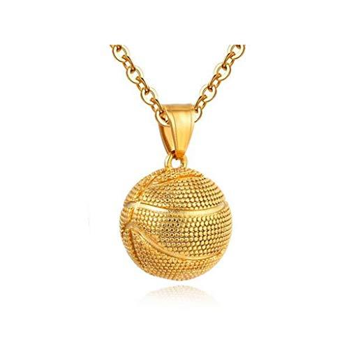Männer Halsketten-Ketten-Anhänger Mode for Männer Schmuck for Männer Jungen Halskette Retro-Art-Edelstahl Basketball-Gold (Color : Gold-L)