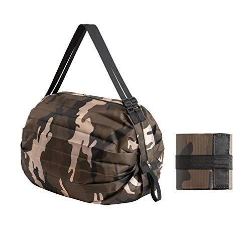 Hktec Bolsa de la compra plegable, reutilizable, ligera, de nailon duradero, resistente al agua, con ruedas para almacenamiento en exteriores, bolsa de viaje, bolsa de compras