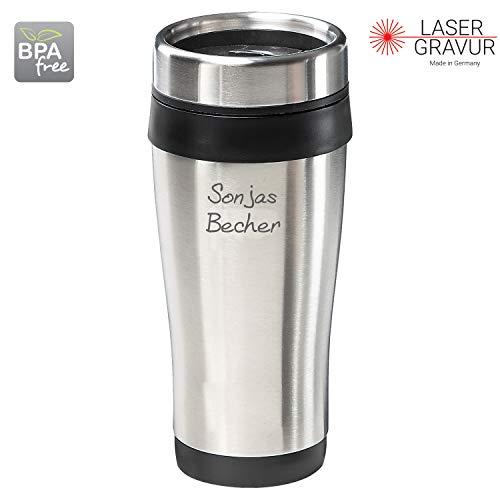 Personalisierter Coffee to Go Becher Kaffeebecher mit Namen für Unterwegs 400 ml BPA-Freier Edelstahl Thermobecher Doppelwandig Vakuumisolierter Isolierbecher mit Gravur