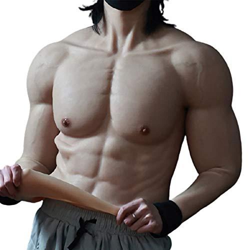BODYDOM Realistische Silikon Muskelanzug Gefälschte Männliche Brust mit Einhorn-Armen für Cosplay Transsexuell Maskerade Kostüm (Halbkörper-Muskelanzug mit Einhorn-Armen, 1)