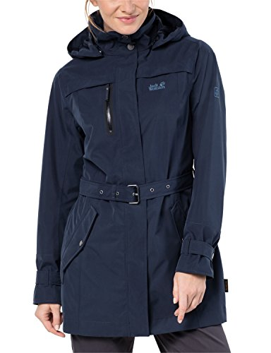 Jack Wolfskin, Kimberley Coat, ademend, waterdicht, winddicht, outdoor functionele jas, trenchcoat jas, midnight blue, maat M