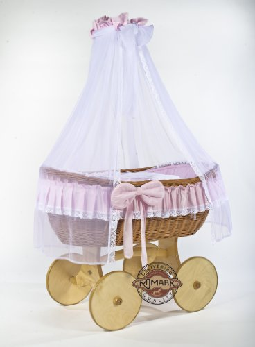 Cesta de mimbre, moisés «Ophelia Uno Antique Pink Solid» blanco & rosa, la cuna, cuna de MJmark