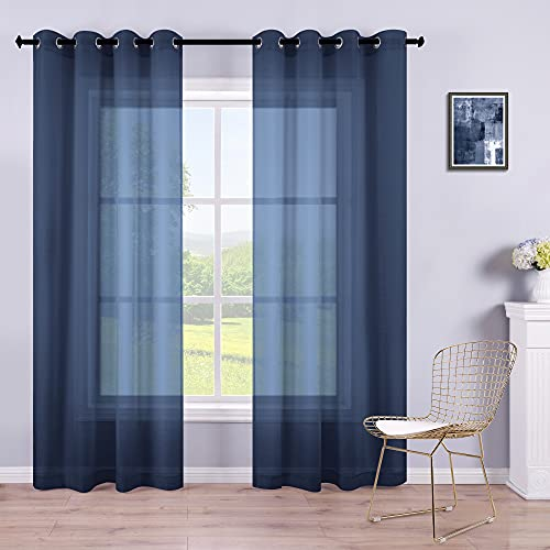 Navy Curtains 84 Inch Length for Living Room Set of 2 Panels Grommet Semi Sheer Nautical Curtains for Bedroom Boys Room Kids Nursery Bathroom Windows 52x84 Inches Long Navy Blue