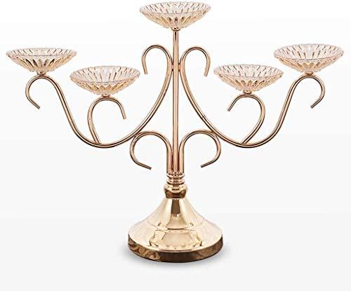 Moderno 5 braccio candelabra stile europeo in metallo portacandele per la casa di nozze natale decorazione della festa di natale candelabro di vetro